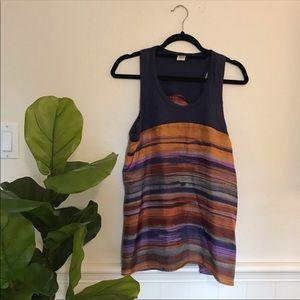 LEFT OF CENTER Multi Color Sleeveless Silk Tank